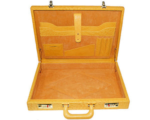 Los Altos Ostrich Attache Case Beige