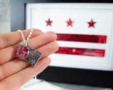Load image into Gallery viewer, washington dc necklace with red circuit board charm with dc flag in background