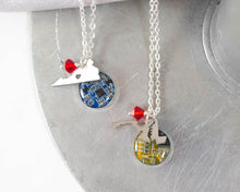 Load image into Gallery viewer, maryland and virginia geek charm necklaces with circuit board and crystal bead