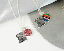 Load image into Gallery viewer, washington dc charm necklace with rainbow and red circuit board charm
