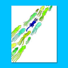 Load image into Gallery viewer, Flight of Squid 8X10 Art Print