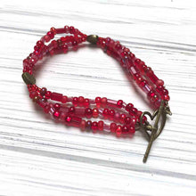Load image into Gallery viewer, MULTI-STRAND GLASS BEADED HEART BRACELET. POPPY RED. VALENTINE'S DAY.