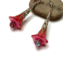 Load image into Gallery viewer, HANDMADE VICTORIAN STYLE FLOWER EARRINGS. RASPBERRY. GARDEN. ROMANTIC. NATURE. FAIRY..