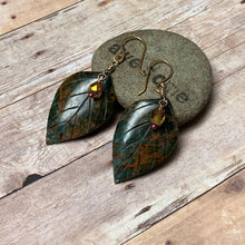 Load image into Gallery viewer, BRONZE CARVED GREEN OPAL LEAF EARRINGS - REJUVENATION TALISMAN