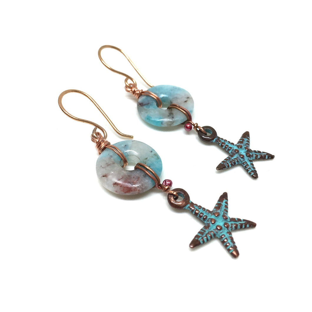 BRONZE AMAZONITE STARFISH EARRINGS - FIND YOUR TRUTH TALISMAN