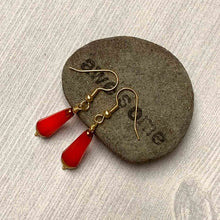 Load image into Gallery viewer, BRONZED KOI CHUBETTE DROP EARRINGS. RED. CZECH.