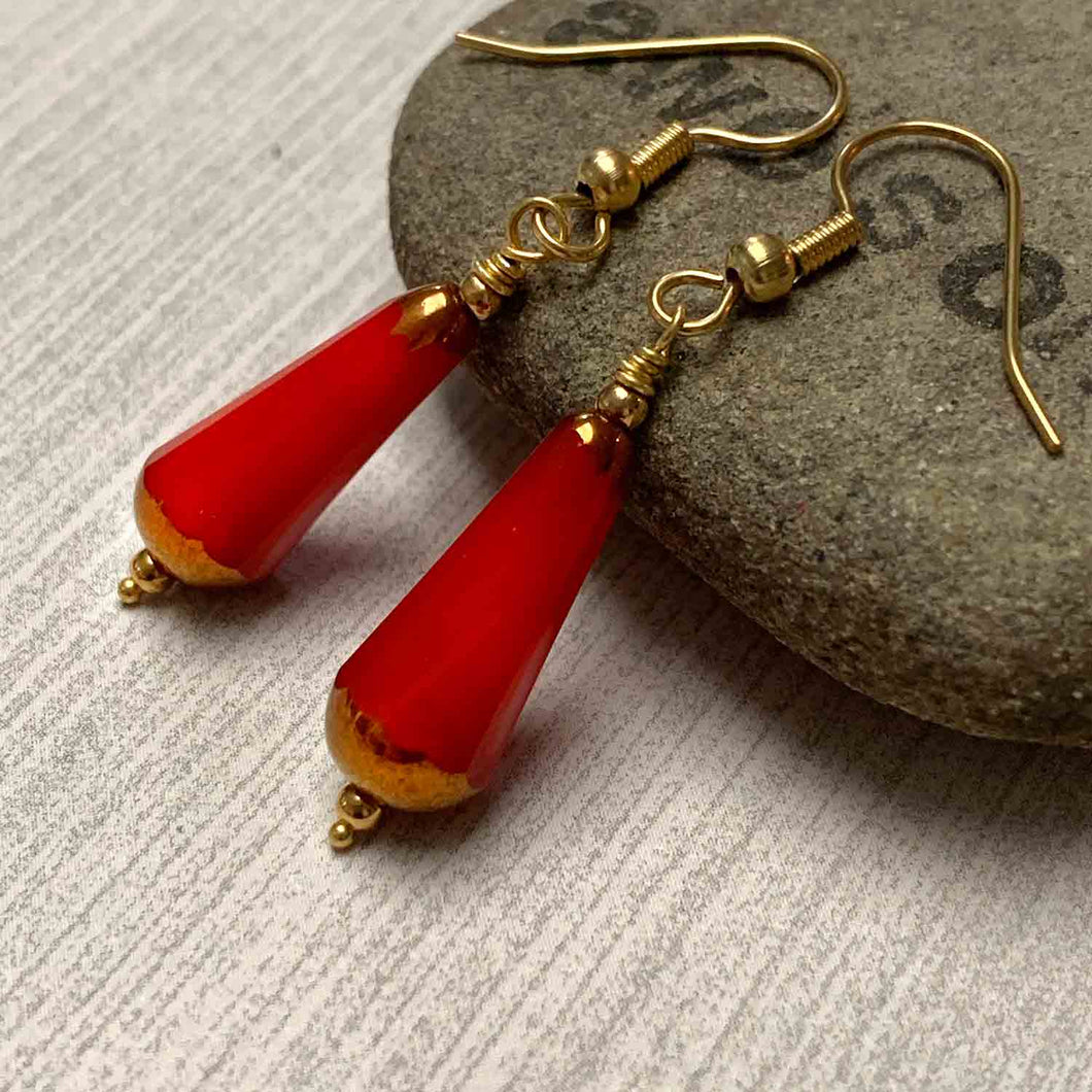BRONZED KOI CHUBETTE DROP EARRINGS. RED. CZECH.