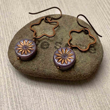 Load image into Gallery viewer, HANDMADE FLOWER STARBURST EARRINGS. PURPLE. COPPER. NATURE. GARDEN.