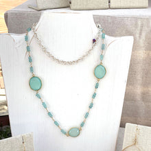Load image into Gallery viewer, GOLD FILLED/PLATED TEAL CHALCEDONY NECKLACE - GOOD WILL TALISMAN