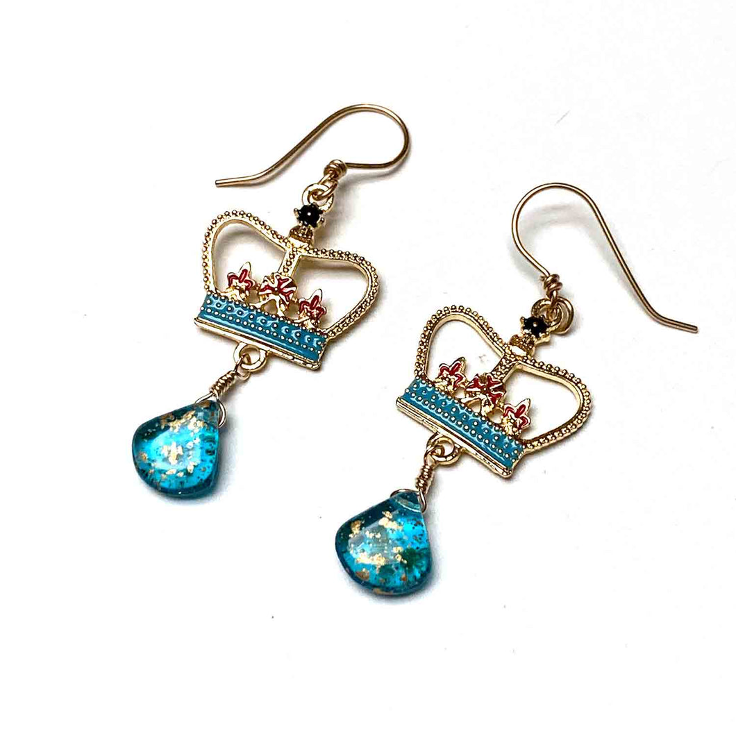 GOLD FILLED CROWN EARRINGS WITH CZECH GLASS. TEAL.