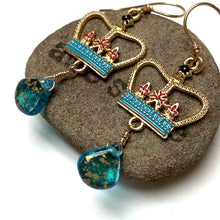 Load image into Gallery viewer, GOLD FILLED CROWN EARRINGS WITH CZECH GLASS. TEAL.