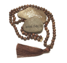 Load image into Gallery viewer, GOLD FILLED HAND SILK KNOTTED CHOCOLATE TIBETAN DZI NECKLACE - GLOWING LIGHT TALISMAN
