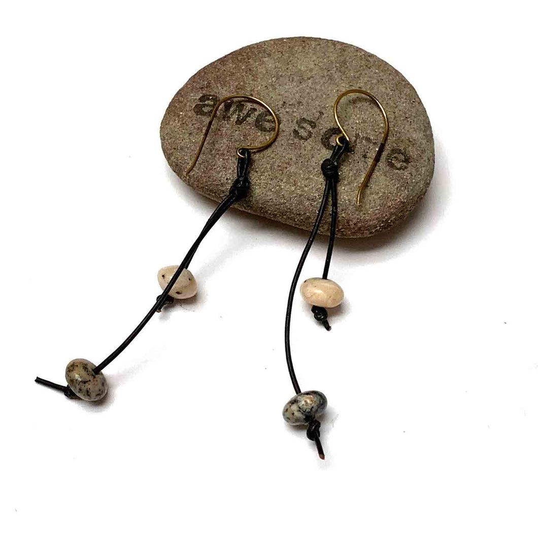 KNOTTED LEATHER TASSEL EARRINGS. PEBBLE GLASS. EARTHY.
