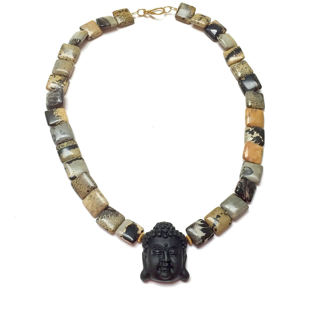 GOLD VERMEIL OBSIDIAN CARVED BUDDHA NECKLACE - LIGHT INTO DARKNESS TALISMAN
