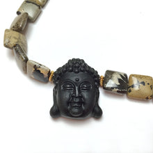Load image into Gallery viewer, GOLD VERMEIL OBSIDIAN CARVED BUDDHA NECKLACE - LIGHT INTO DARKNESS TALISMAN