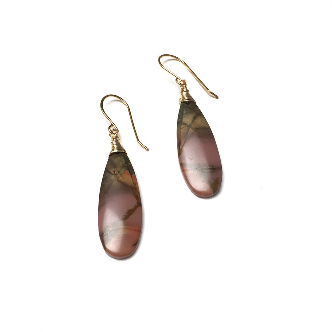 GOLD FILLED CHERRY CREEK JASPER EARRINGS (PINK) - MOTHER EARTH TALISMAN