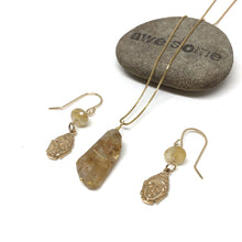 Load image into Gallery viewer, GOLD FILLED RUTILATED QUARTZ NECKLACE EARRINGS - CLARITY TALISMAN
