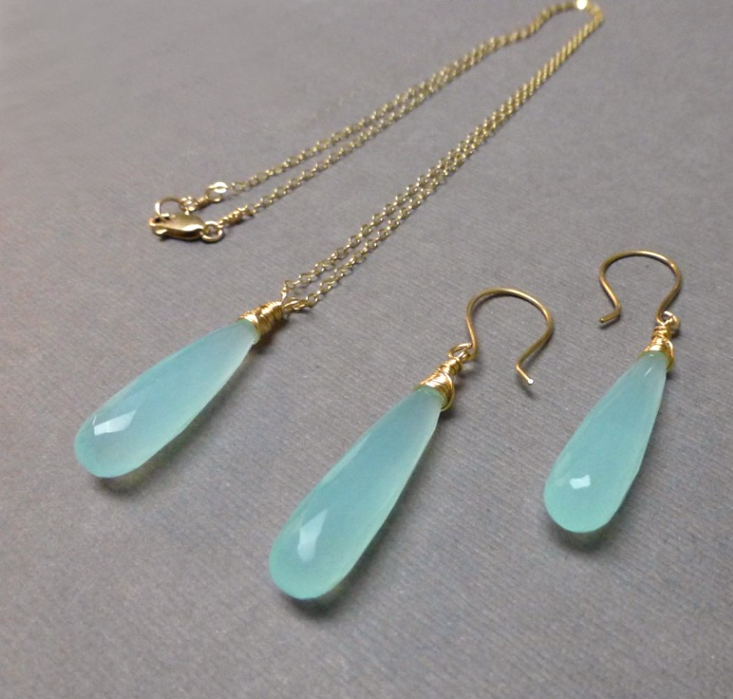CHALCEDONY LONG DROP NECKLACE EARRINGS (SS/GF/RGF) - GOOD WILL TALISMAN