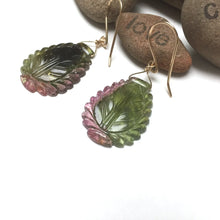 Load image into Gallery viewer, GOLD FILLED TOURMALINE CARVED LEAF EARRINGS - INSPIRATION TALISMAN