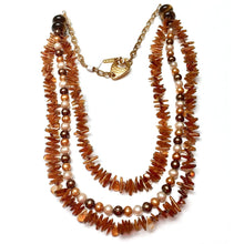 Load image into Gallery viewer, GOLD VERMEIL MULTI-STRAND CITRINE SHELL FRESHWATER PEARL NECKLACE - CREATIVITY TALISMAN
