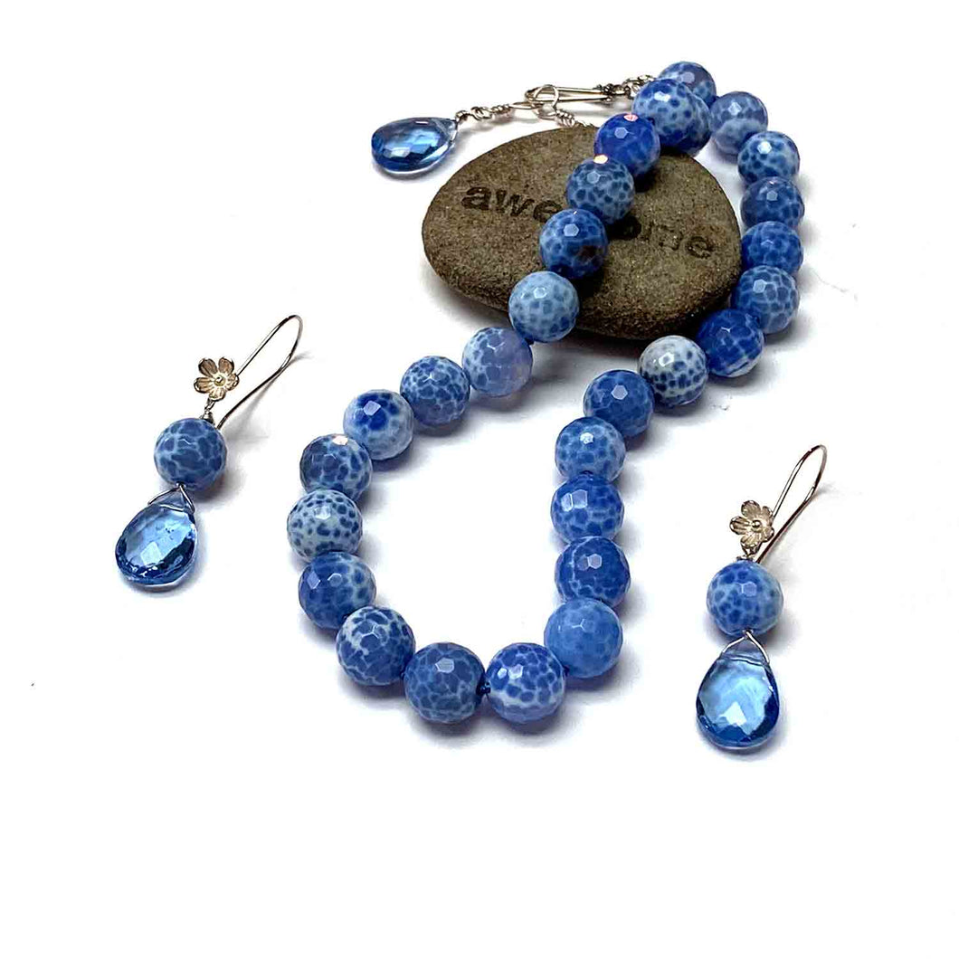 HAND SILK KNOTTED BLUE AGATE JEWELRY SET - PROTECTIVE EMBRACE TALISMAN