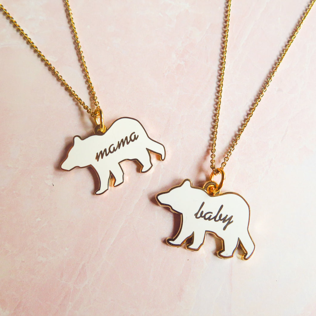 Enamel Mommy and Me Bear Necklace Set