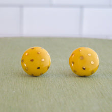 Load image into Gallery viewer, Circle Polka Dot Gold Earrings