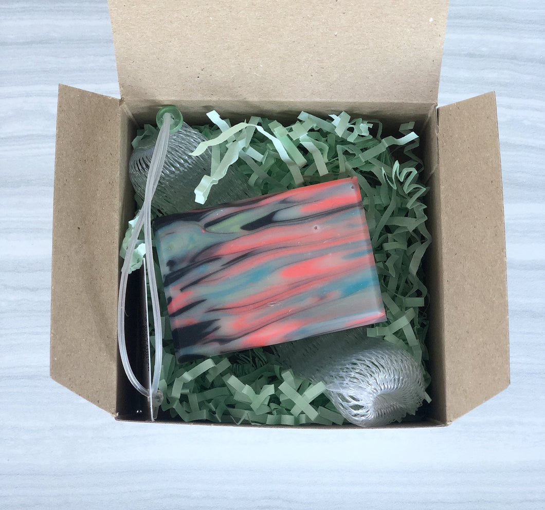 Gift Box with Decorative Soap & Soap Net