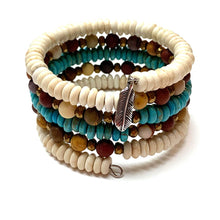 Load image into Gallery viewer, MEMORY WIRE 5-STRAND FEATHER BRACELET. HOWLITE. JASPER.