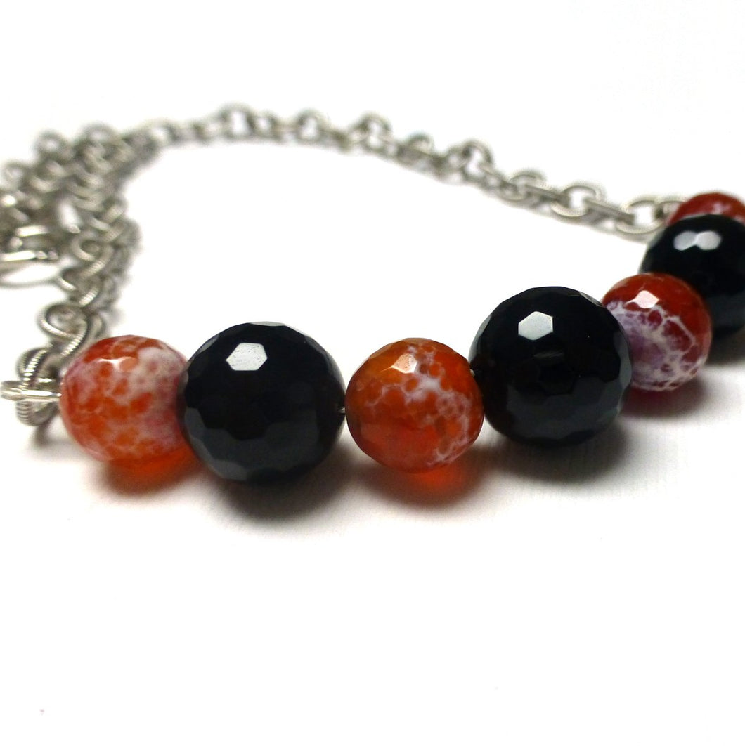 SILVER PLATED MIRACLE AGATE BLACK ONYX NECKLACE - PROTECTIVE EMBRACE TALISMAN