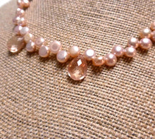 Load image into Gallery viewer, STERLING SILVER PINK FRESHWATER PEARL SUNSTONE NECKLACE - PURE HEART TALISMAN