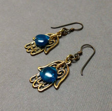 Load image into Gallery viewer, NIOBIUM APATITE HAMSA HAND EARRINGS - PROTECTION TALISMAN
