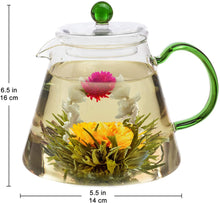 Load image into Gallery viewer, 6 Blooming Tea and Glass Teapot Gift Set