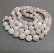 Load image into Gallery viewer, HAND SILK KNOTTED MATTE ROSE QUARTZ NECKLACE - OPEN YOUR HEART TALISMAN