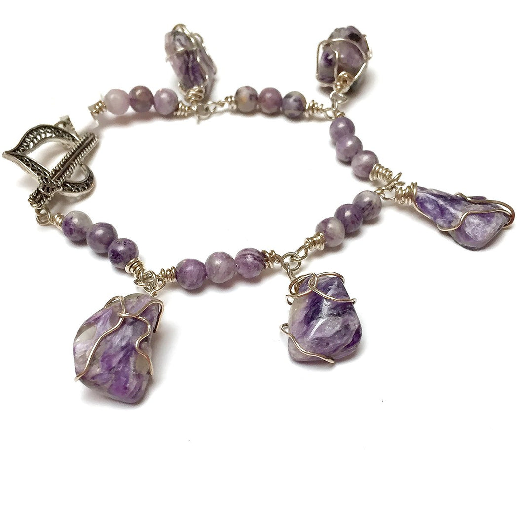 STERLING SILVER WRAPPED CHAROITE BRACELET - I ACCEPT TALISMAN