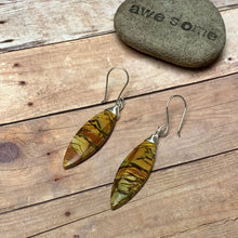 Load image into Gallery viewer, STERLING SILVER CHERRY CREEK MARQUISE JASPER EARRINGS - MOTHER EARTH TALISMAN