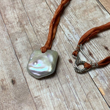Load image into Gallery viewer, STERLING SILVER FRESHWATER PEARL SILK NECKLACE - PURE HEART TALISMAN