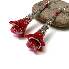 Load image into Gallery viewer, HANDMADE VICTORIAN STYLE FLOWER EARRINGS. RED. SILVER. GARDEN. ROMANTIC. NATURE. FAIRY.