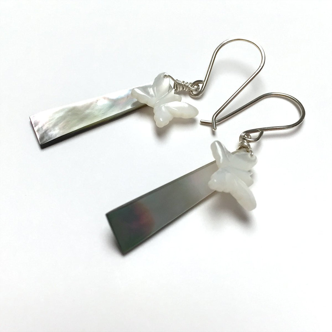STERLING SILVER MOP EARRINGS - SOFT WINGED BUTTERFLY TALISMAN