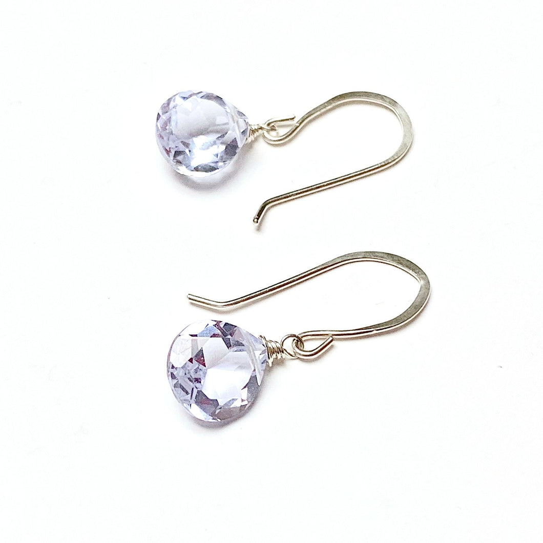 STERLING SILVER PALE LAVENDER QUARTZ BRIOLETTE EARRINGS - A SYNCH ME TALISMAN