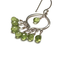 Load image into Gallery viewer, STERLING SILVER PERIDOT CHANDELIER EARRINGS - WARMTH AND ABUNDANCE TALISMAN