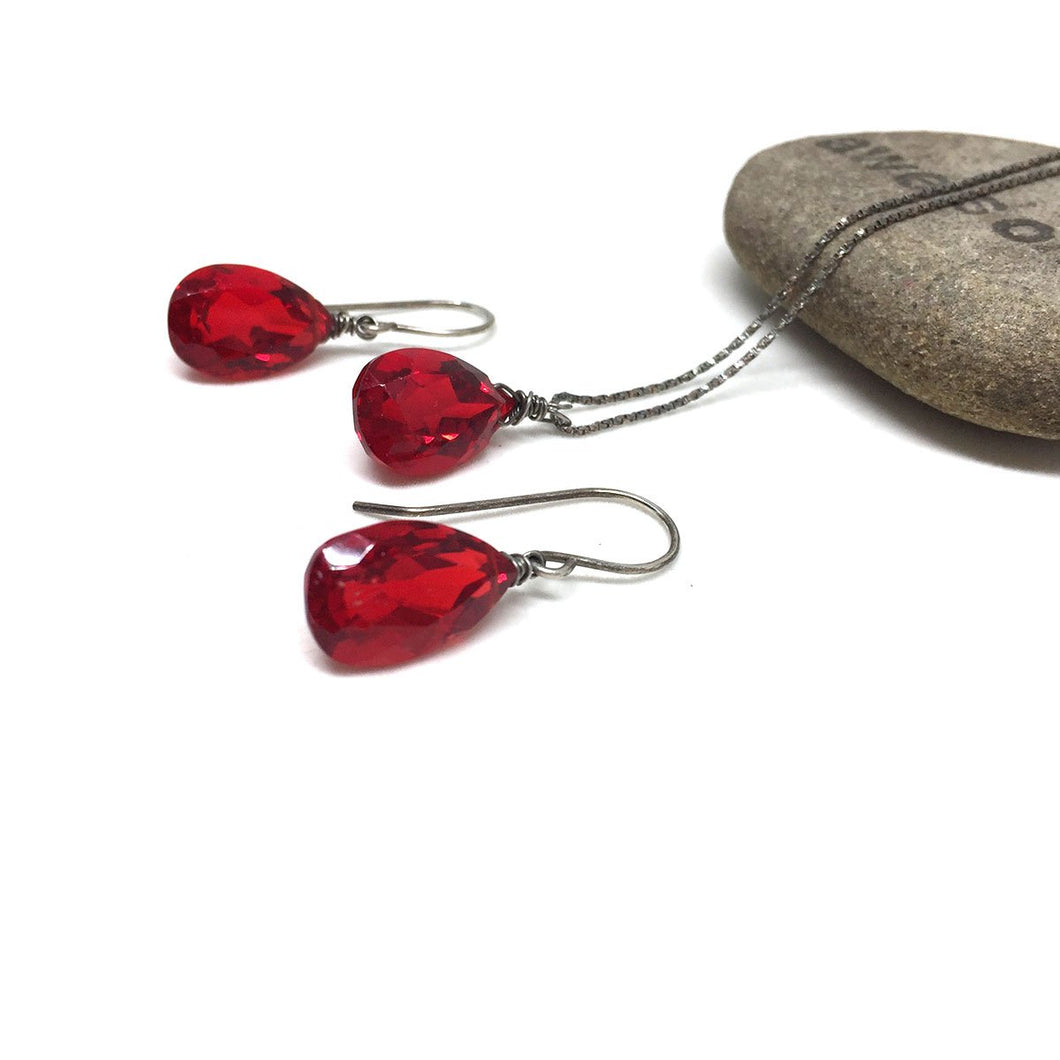 STERLING SILVER RED QUARTZ NECKLACE EARRINGS - SYNCH ME TALISMAN