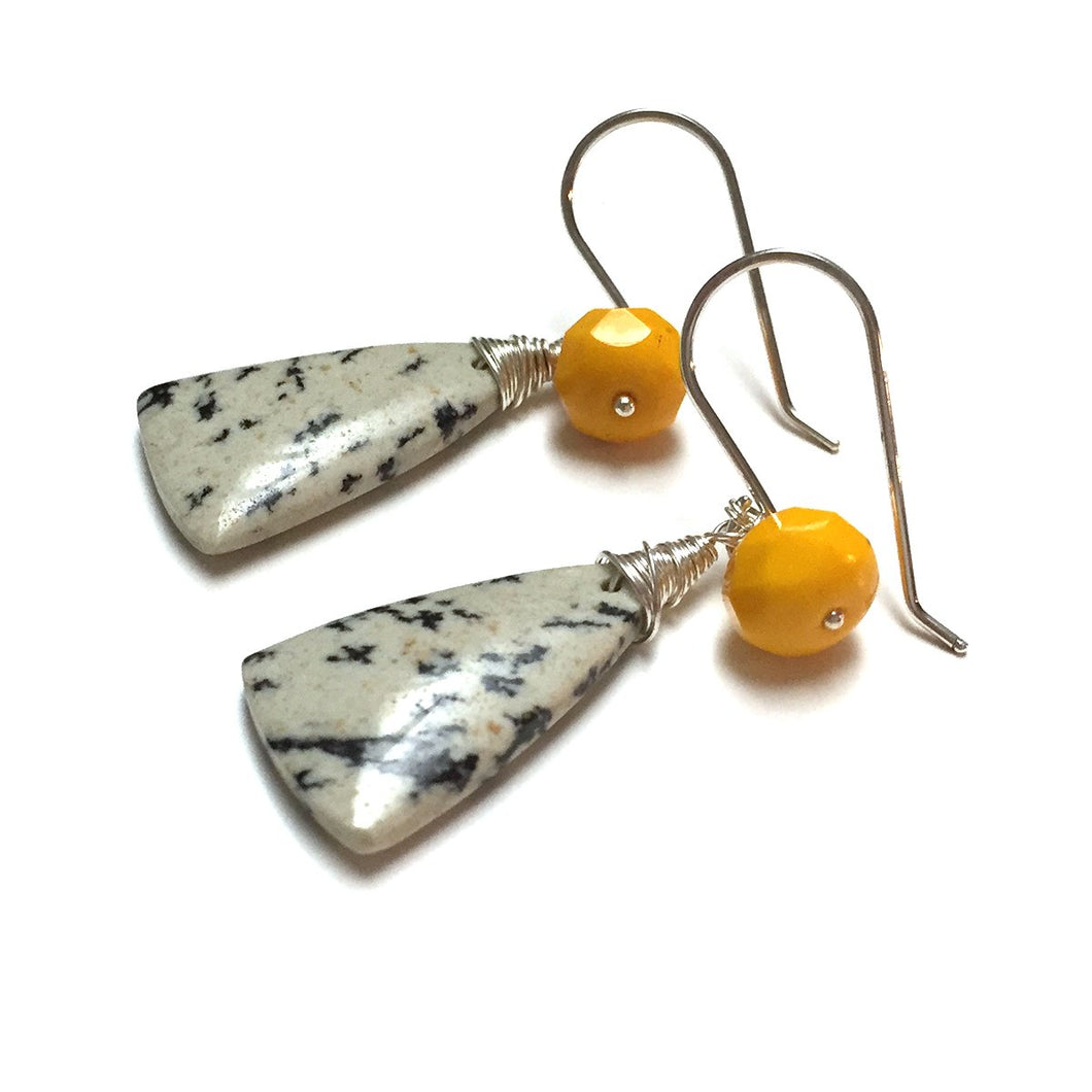 STERLING SILVER SAPLING JASPER EARRINGS - TREE HUGGER TALISMAN