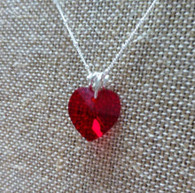 Load image into Gallery viewer, STERLING SILVER SWAROVSKI HEART NECKLACE. RUBY RED. VALENTINE'S DAY.
