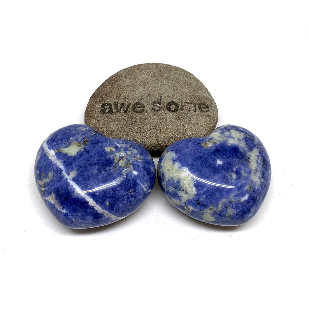 SODALITE HEART PALM STONE - RATIONAL MIND TALISMAN