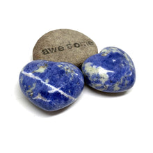 Load image into Gallery viewer, SODALITE HEART PALM STONE - RATIONAL MIND TALISMAN