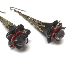 Load image into Gallery viewer, HANDMADE VICTORIAN STYLE FLOWER EARRINGS. RED. BLACK. GARDEN. ROMANTIC. GOTHIC. FAIRY.