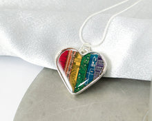 Load image into Gallery viewer, rainbow circuit board heart necklace