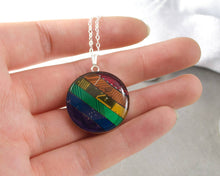 Load image into Gallery viewer, Circuit Board Rainbow Necklace, Sterling Silver