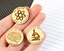 Load image into Gallery viewer, Set of 3 Wood Science Pins